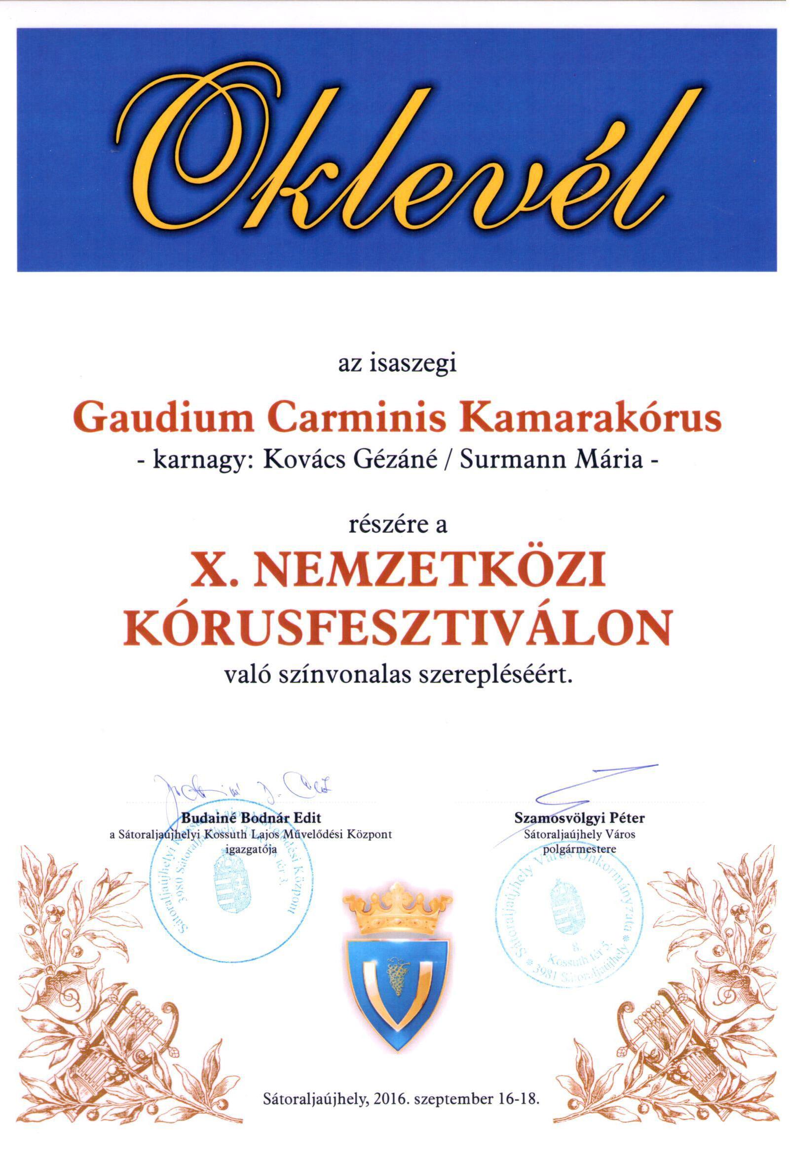 Gaudium Carminis - Emléklap