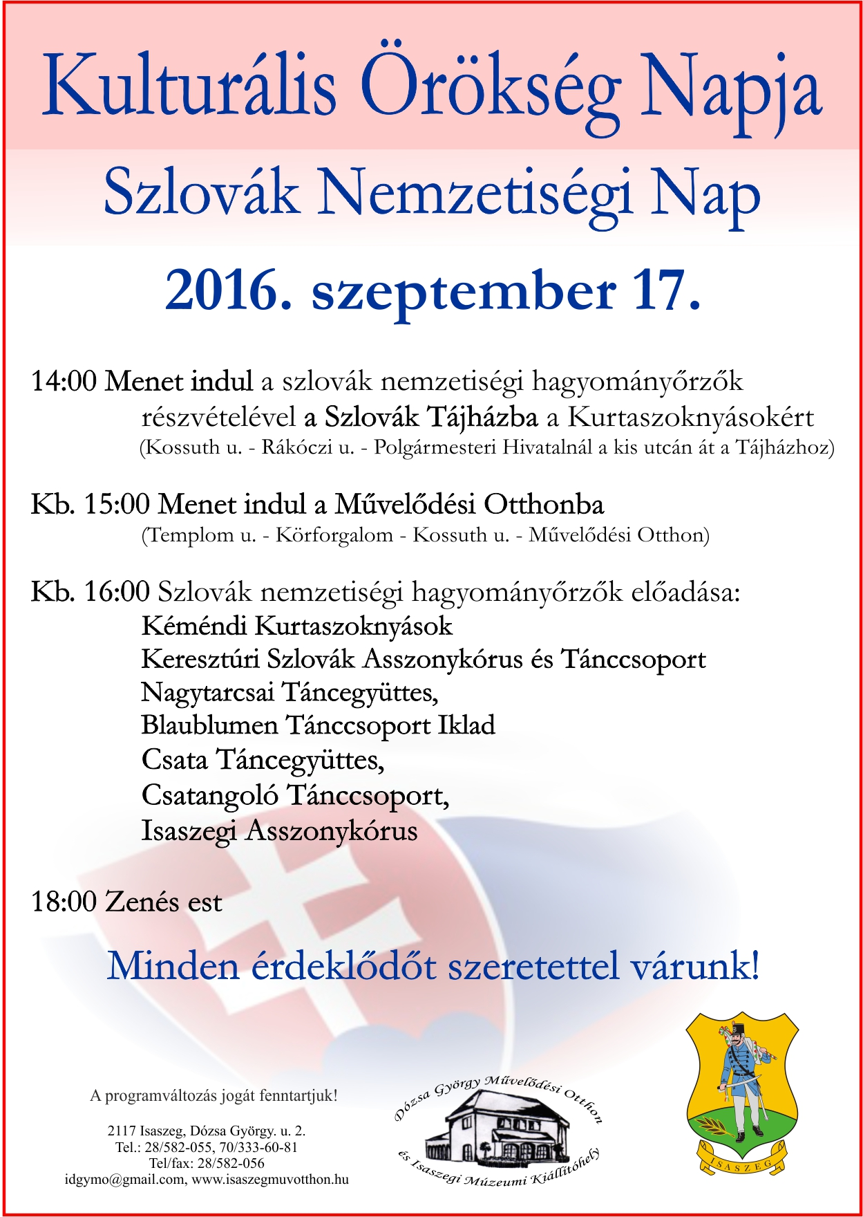 Kulturális Örökség Napja - Szlovák Nemzetiségi Nap