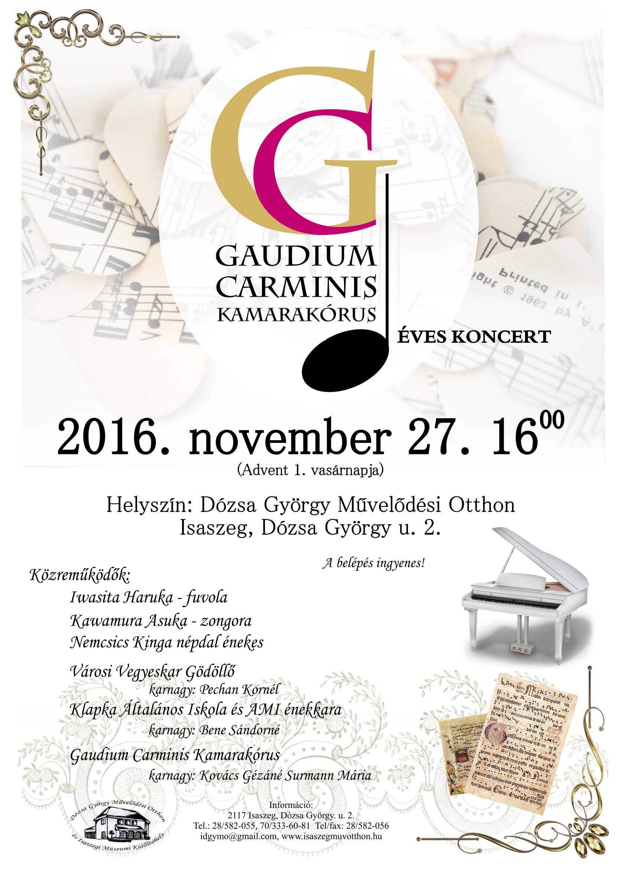 Gaudium Carminis Kamarakórus éves koncert