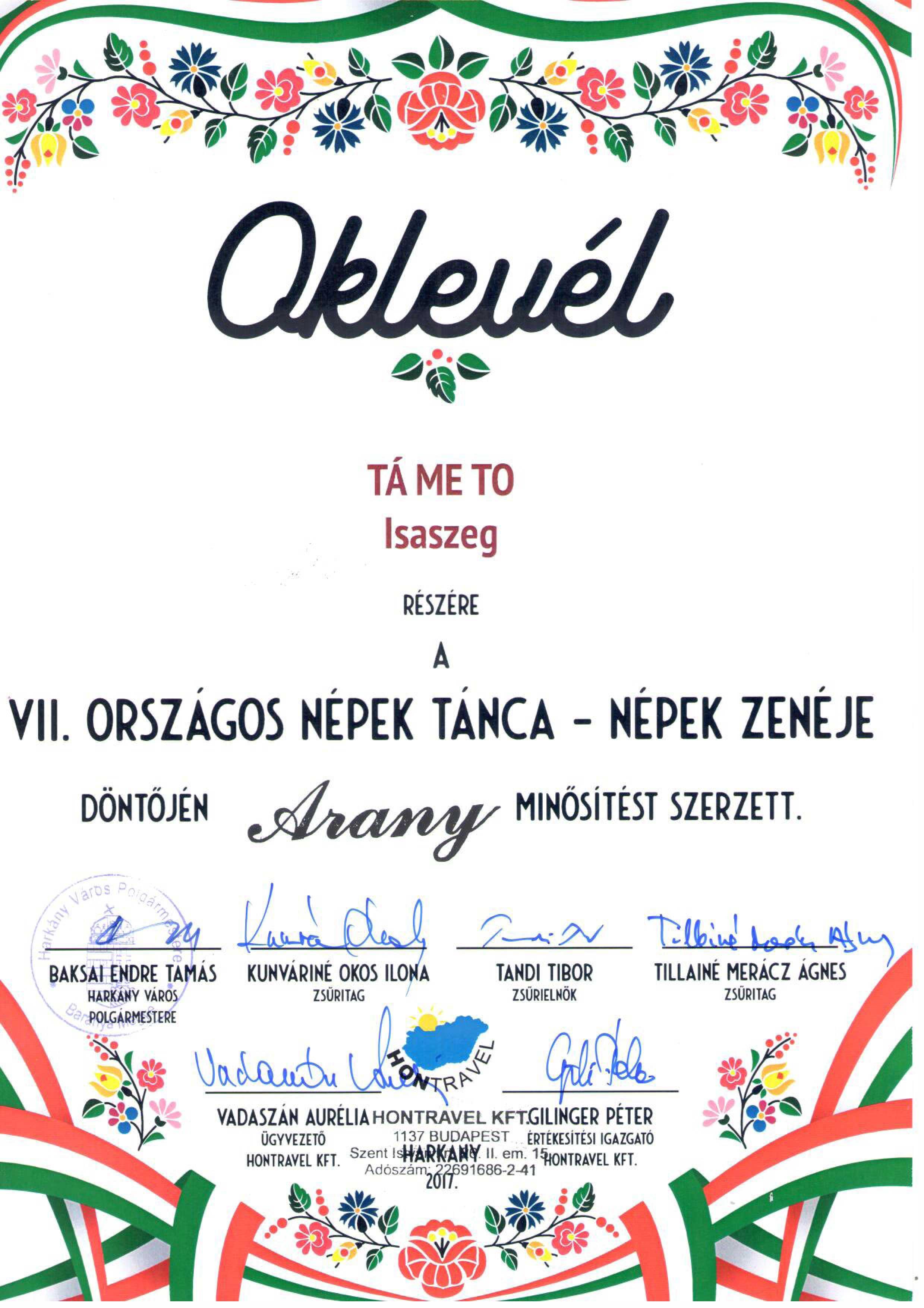 Tá-Me-To Oklevél
