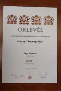 Oklevél - Isaszegi Asszonykórus