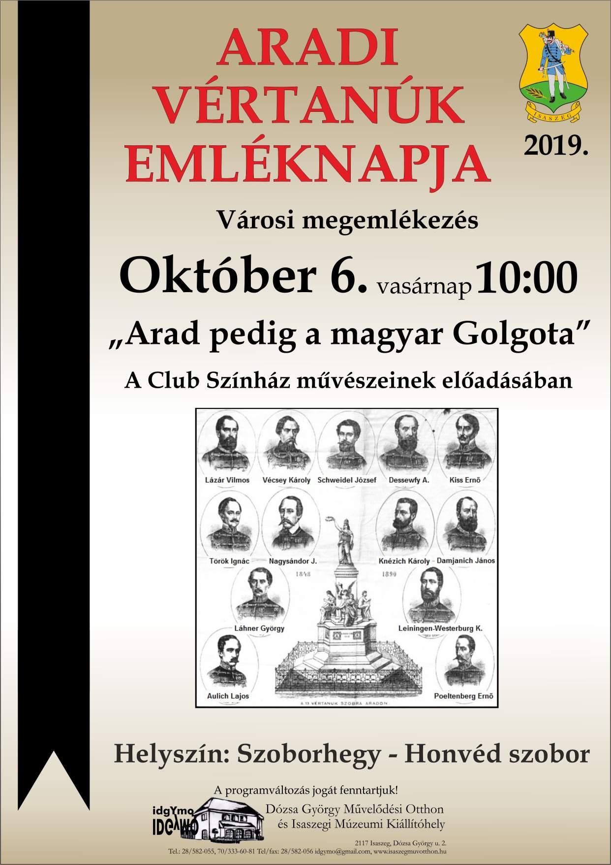 Aradi Vértanúk Emléknapja 2019